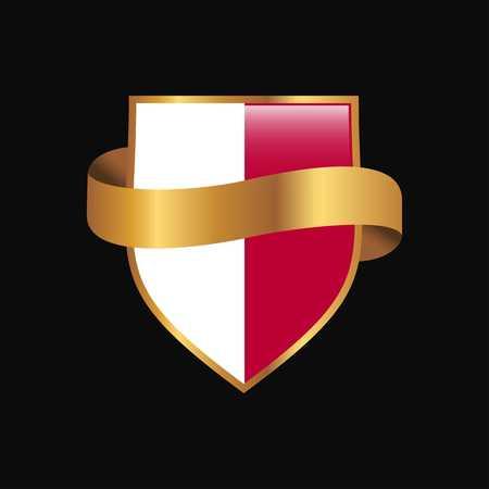 Malta flag Golden badge design vector