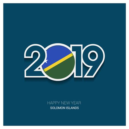 2019 Solomon Islands Typography, Happy New Year Background