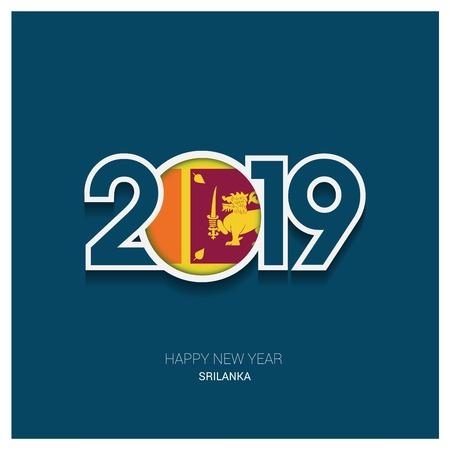 2019 Sri Lanka Typography, Happy New Year Background