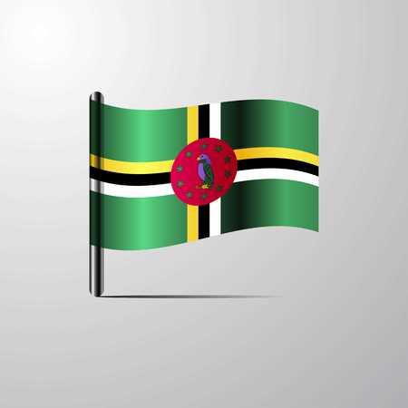 Dominica waving Shiny Flag design vector