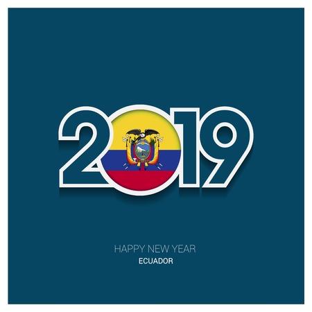 2019 Ecuador Typography, Happy New Year Background Ilustrace