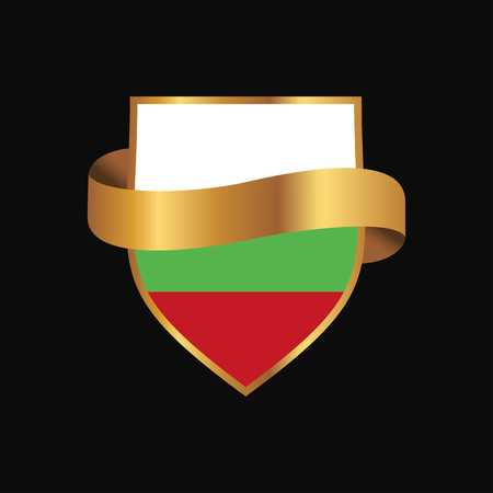 Bulgaria flag Golden badge design vector