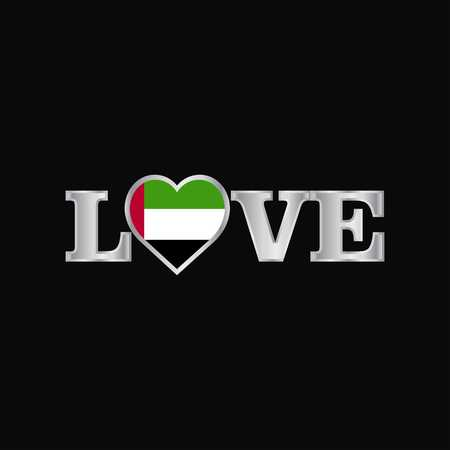 Love typography with UAE flag design vector