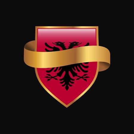 Albania flag Golden badge design vector Vektorové ilustrace