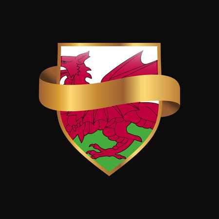 Wales flag Golden badge design vector