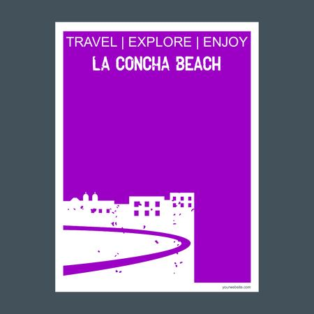 La Concha Beach, Spain monument landmark brochure Flat style and typography vector