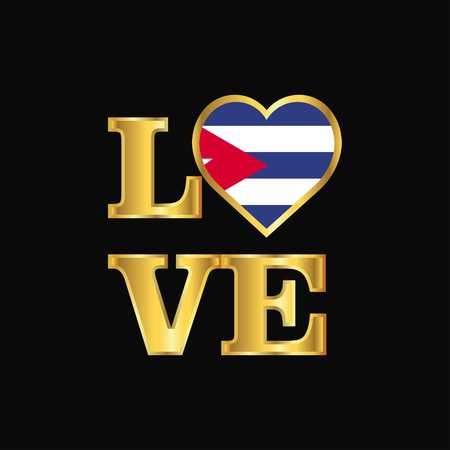 Love typography Cuba flag design vector Gold lettering Ilustração