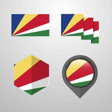 Seychelles flag design set vector Иллюстрация