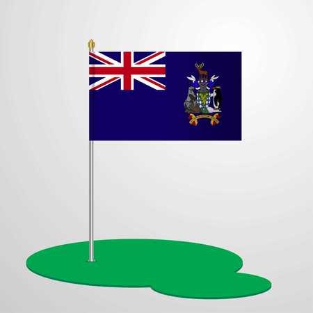South Georgia Flag Pole  イラスト・ベクター素材