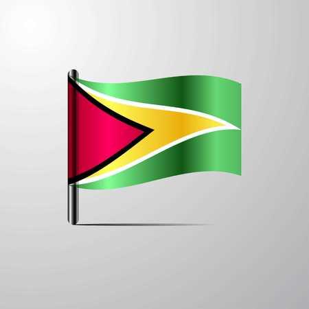 Guyana waving Shiny Flag design vector