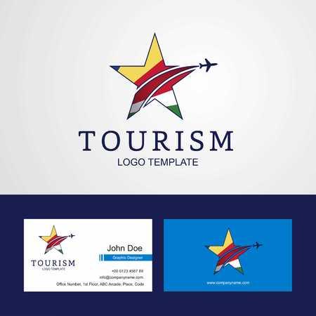 Travel Seychelles flag Creative Star Logo and Business card design