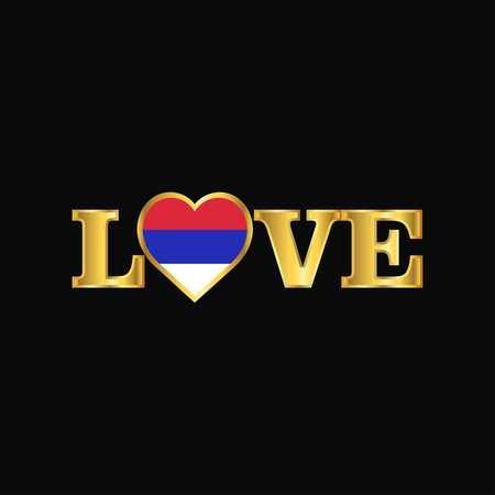 Golden Love typography Republika Srpska flag design vector Illustration