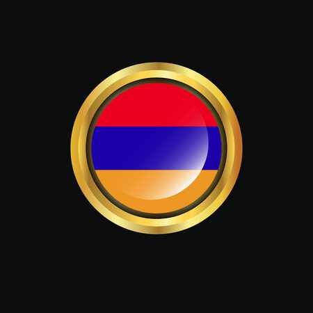 Armenia flag Golden button Stock Vector - 111330307