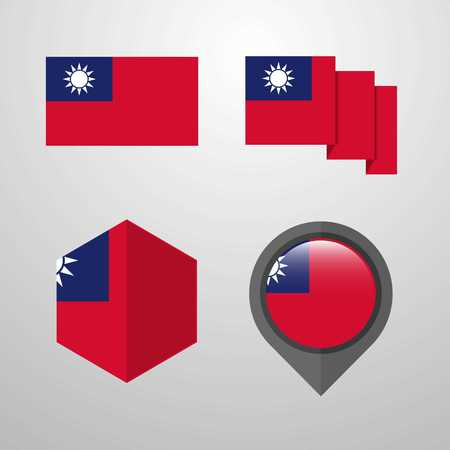 Taiwan flag design set vector