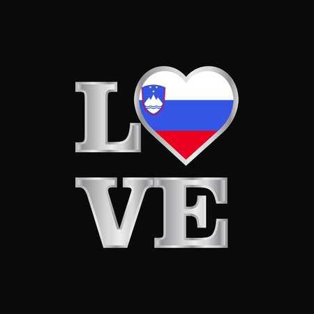 Love typography Slovenia flag design vector beautiful lettering