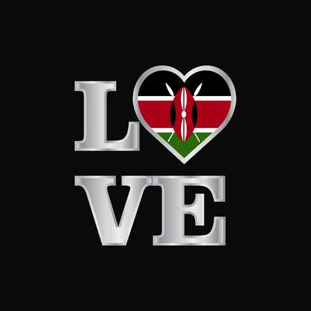 Love typography Kenya flag design vector beautiful lettering  イラスト・ベクター素材