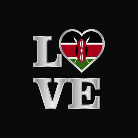 Love typography Kenya flag design vector beautiful lettering 写真素材 - 111330527