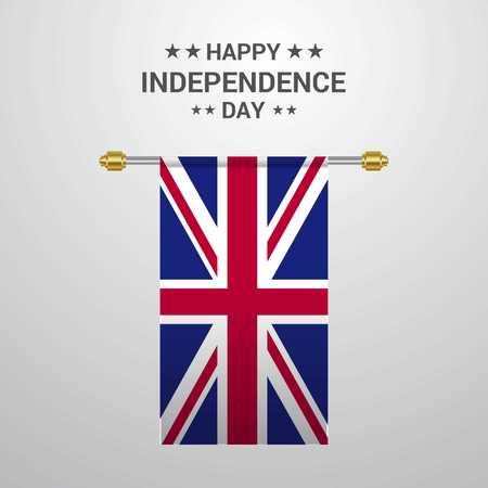 United Kingdom Independence day hanging flag background Ilustrace