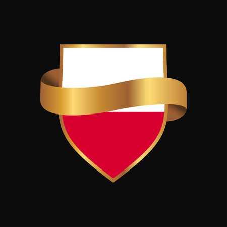 Poland flag Golden badge design vector Ilustrace
