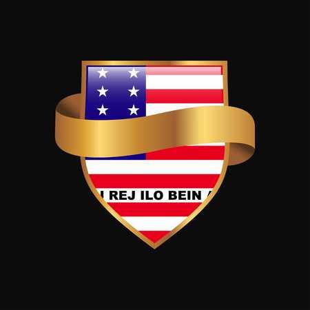 Bikini Atoll flag Golden badge design vector