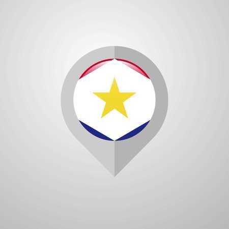 Map Navigation pointer with saba flag design vector Illustration
