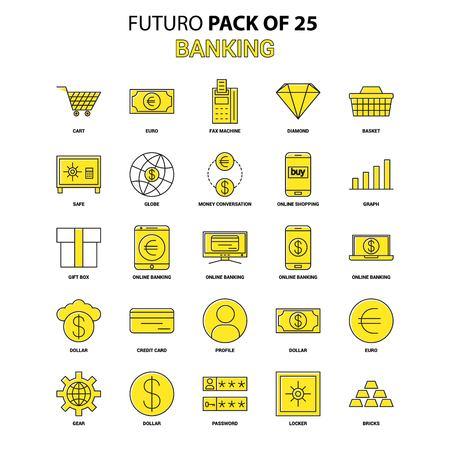 Banking Icon Set. Yellow Futuro Latest Design icon Pack Illustration