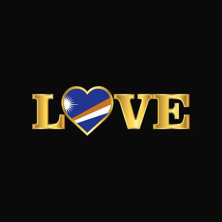 Golden Love typography Marshall Islands flag design vector Çizim