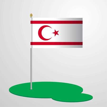 Northern Cyprus Flag Pole Illustration