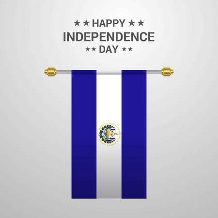 El Salvador Independence day hanging flag background