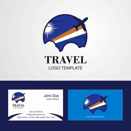 Travel Marshall Islands Flag Logo and Visiting Card Design