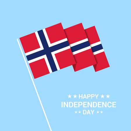 Norway Independence day typographic design with flag vector