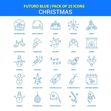 Christmas Icons - Futuro Blue 25 Icon pack