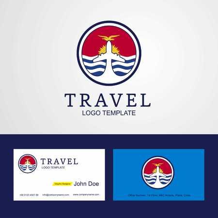 Travel Kiribati Creative Circle flag Logo and Business card design
