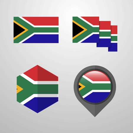 South Africa flag design set vector Illustration