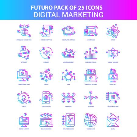 25 Blue and Pink Futuro Digital Marketing Icon Pack