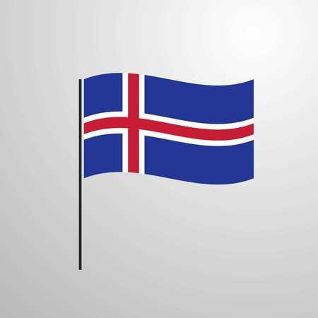 Iceland waving Flag Ilustração