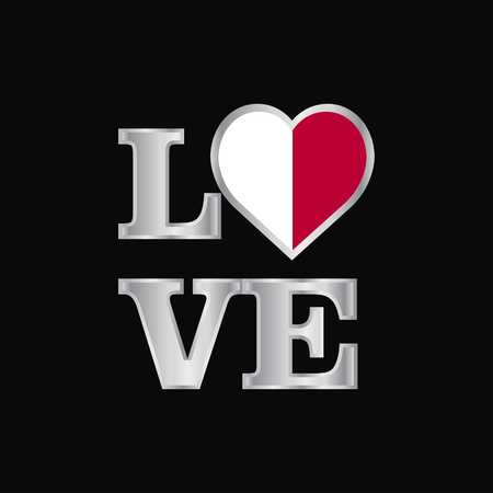 Love typography Malta flag design vector beautiful lettering Vektoros illusztráció