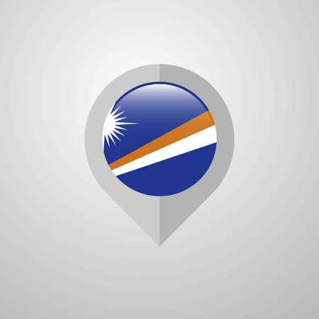 Map Navigation pointer with Marshall Islands flag design vector