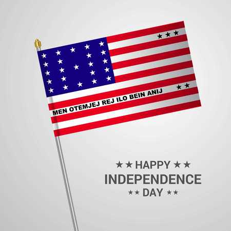 Bikini Atoll Independence day typographic design with flag vector Stock Illustratie