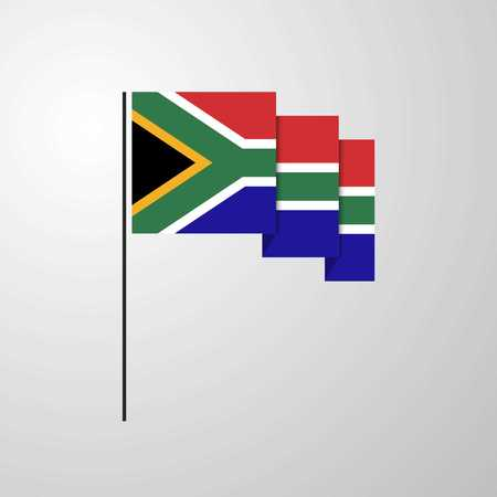 South Africa waving Flag creative background Illustration