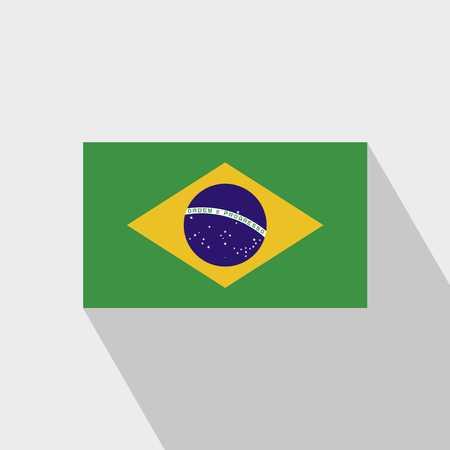 Brazil flag Long Shadow design vector