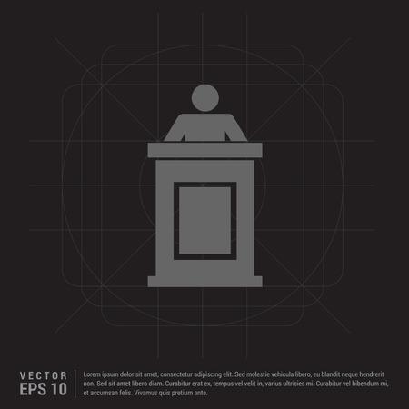 Speaker at rostrum icon