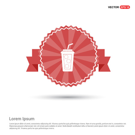 Cold drink icon - Red Ribbon banner Çizim