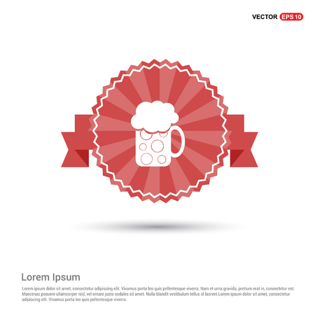 Coffee cup icon - Red Ribbon banner Illustration