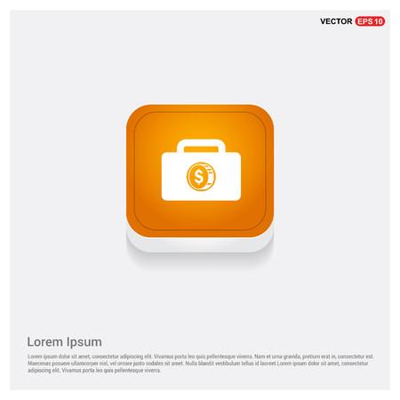 Money Bag icon Orange Abstract Web Button - Free vector icon