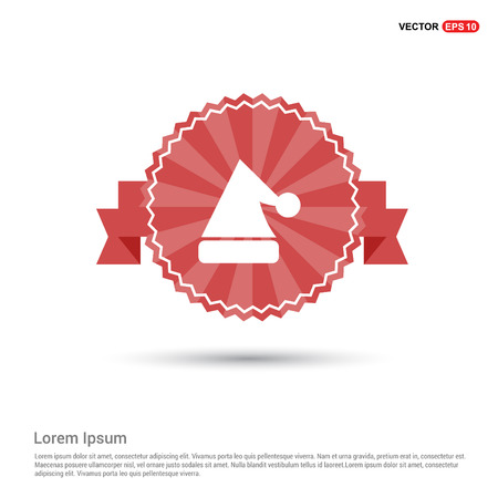 Snowflake flat icon - Red Ribbon banner