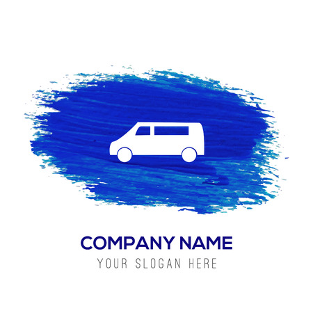 Car icon - Blue watercolor background Illustration