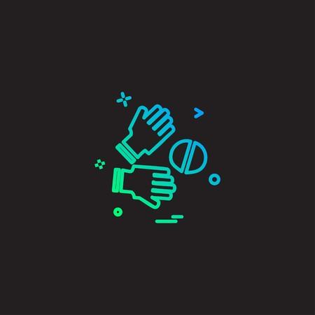 Catch cricket  gloves  wicketkeeper icon vector design 写真素材 - 111449501