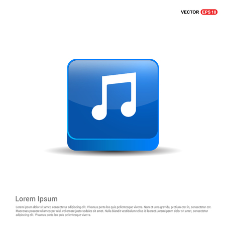 Music note icon - 3d Blue Button. Illustration