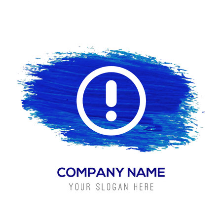 warning icon - Blue watercolor background